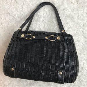 Kate Spade Black Wicker Basket Handbag